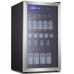 Beverage Refrigerator Cooler Wine Fride,113 Can or 60 Bottles Capacity with Smoky Gray Glass Doo ...
