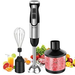 Immersion Hand Blender, AHNR 800W 3-IN-1 Immersion Blender 8-Speed, Includes 304 Stainless Steel ...