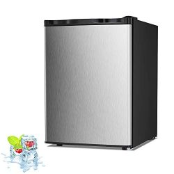 Kismile 2.1 Cu.ft Upright Freezer with Compact Reversible Single Door,Removable Shelves Free Sta ...