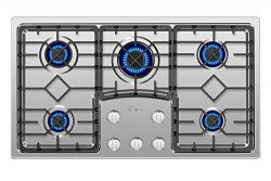 Empava 36 in Gas Cooktop with 5 Italy Sabaf Sealed Burners NG/LPG Convertible Stove in Stainless ...