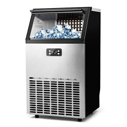 MECY Commercial Ice Maker Machine, Stainless Steel Automatic Ice Machine Make 100lbs/24H, Freest ...
