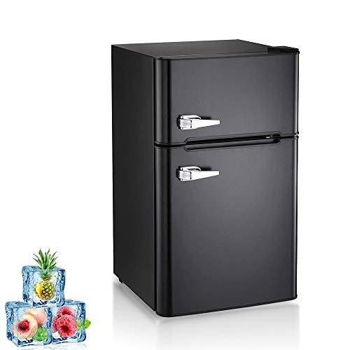 Kismile Double Door 3.2 Cu.ft Compact Refrigerator with Top Door Freezer,Freestanding mini Fridg ...