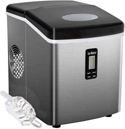 Bossin Countertop Ice Maker Portable Ice Making Machine -Bullet Ice Cubes Ready in 6 Mins – ...