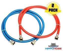Washing Machine Hoses Stainless Steel – Braided Washer hose 6 ft Burst Proof (2 pack) R ...