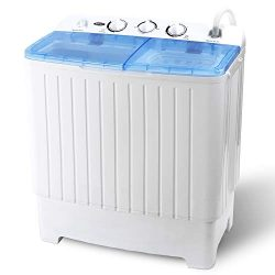 ZENY Portable Compact Twin Tub Laundry Washing Machine 17.6lbs Capacity Mini Washer Spinner for  ...