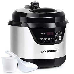prepAmeal 3 Quart Electric Pressure Cooker 8-IN-1 Multi-Use Programmable Instant Cooker Electric ...