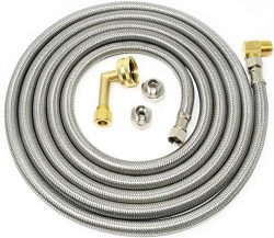 Kelaro Universal Stainless Steel Dishwasher Hose Kit (10 Ft) Burst Proof Water Supply Line with  ...