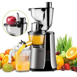 Wide Chute Slow Masticating Juicer Picberm PB2210B Cold Press Juicer Extractor with Two Speed Mo ...