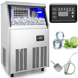 VEVOR Commercial Ice Maker 100LBs in 24Hrs with 33lbs Storage Capacity 36Cubes Per Plate Stainle ...