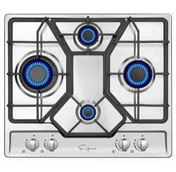 Empava 24 Inch Gas Cooktop Professional 4 Italy Sabaf Burners Stove Top Certified with Thermocou ...