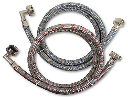 Premium Stainless Steel Washing Machine Hoses with 90 Degree Elbow, 8 Ft Burst Proof (2 Pack) Re ...