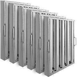 VBENLEM Set of 6 Restaurant Hood Filter 19.5W x 24.5H Inch 430 Stainless Steel Hood Filter with  ...
