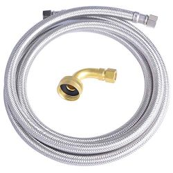 Hydro Master 0152104 72 inches Braided Stainless Steel Dishwasher Connector with Elbow, 3/8̸ ...
