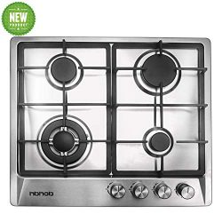 24″ inches Stainless Gas Cooktop Built in Gas Stove 4 Burners Gas Stove Cooktop (4 Sealed  ...