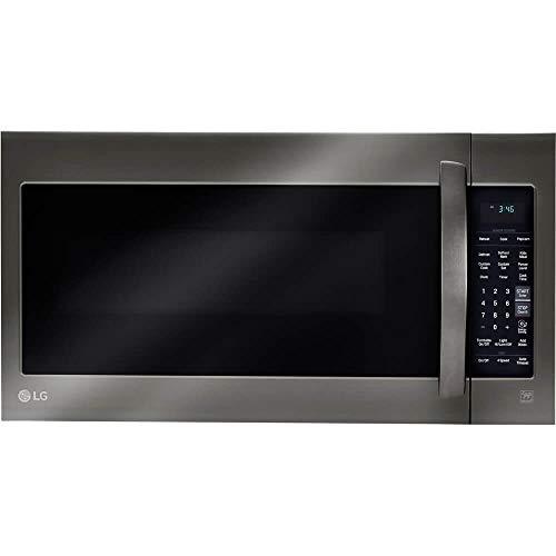 LG 2-cu ft Over-the-Range Microwave with Sensor Cooking (Fingerprint-Resistant Black Stainless S ...