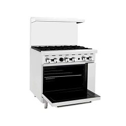 "Atosa Stove ATO-6B 36"" Natural Gas Range 6 Burners with 26.5 "" Stove ETL"
