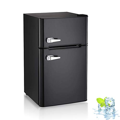3.2 Cu.ft Compact Double Door Refrigerator and Freezer, Freestanding Mini Fridge with Top Door U ...