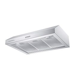 30 inch Under Cabinet Range Hood, CIARRA 450 CFM Stainless Steel Kitchen Stove Hood with 3 Speed ...