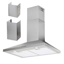 HTH 30″ Wall Mount Range Hood Multi Choice – 8-11ft Ceiling, Stainless Steel Ducted  ...