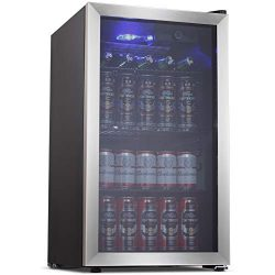 Joy Pebbe Beverage Cooler and Refrigerator with Glass Door (3.2 cu.ft, Stainless Black)