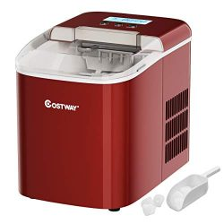 COSTWAY Countertop Ice Maker, 26LBS/24H with Self-clean Function, LCD Display, 9 Bullet Ice / 7  ...