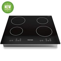 24 Inch Induction Cooktop, Stove Top Electric Cooktop, 4-Burner Electric Induction, Black Vitro  ...