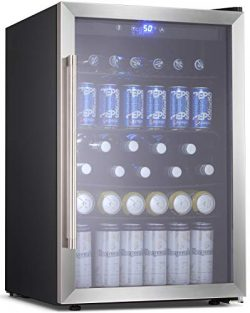 BOSSIN Beverage Refrigerator and Cooler, 120 Can Capacity with Smoky Gray Glass Door for Soda Be ...