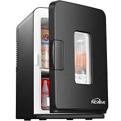 Mini Fridge with Cooler and Warmer, 15 Liter/18 Cans AC/DC Portable Compact Fridge, Thermoelectr ...