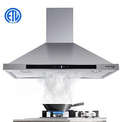36″ Range Hood, GASLAND Chef PR36SS 36-inch Stainless Steel Wall Mount Kitchen Hood, 3 Spe ...