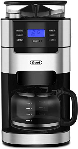 10-Cup Drip Coffee Maker, Grind and Brew Automatic Coffee Machine with Built-In Burr Coffee Grin ...