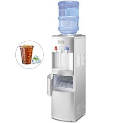 GOFLAME 2 In 1 Water Cooler Dispenser with Built-in Ice Maker Machine, 3 to 5 Gallon Hot and Col ...