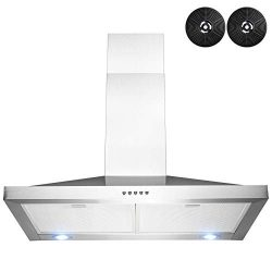 AKDY 30 in. Wall Mount Stainless Steel Push Panel Kitchen Range Hood Cooking Fan with Carbon Filters