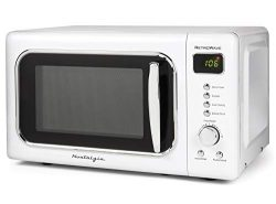 Nostalgia CLMO7WH Classic Retro 0.7 Cu. Ft. 700-Watt Countertop Microwave Oven With LED Display, ...