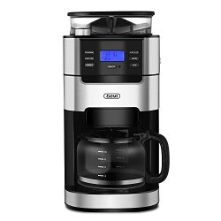 Gevi Coffee Maker 10 Cups Drip Grind and Brew Coffee Machine Built-in Burr Coffee Grinder for Ki ...