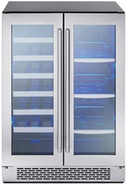 Zephyr Presrv Dual Zone Wine & Beverage Cooler with Glass French Door. 24 Inch 5.18 cu. ft.  ...