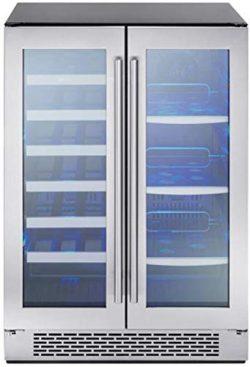 Zephyr Presrv Dual Zone Wine & Beverage Cooler with Glass French Door. 24 Inch 5.18 cu. ft.  ...
