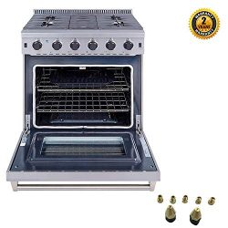 Thor Kitchen 30 inch Freestanding Pro-Style Gas Range with 4.55 cu.ft. Oven, 5 Burners, in Stain ...