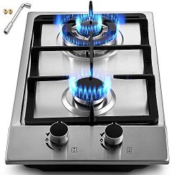 OASD 12×20 Inch Built in Gas Cooktop 2 Burners Gas Stove Cooktop Stainless Steel Cooktop Ga ...