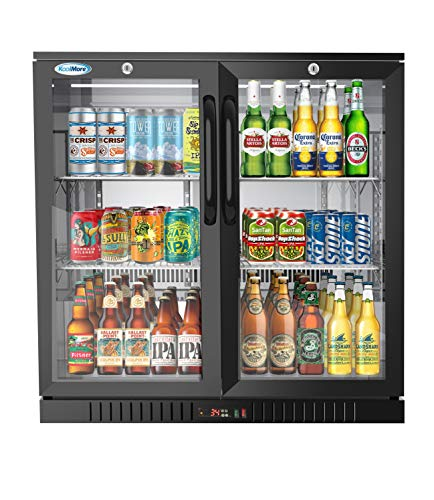Koolmore 2 Door Back Bar Cooler Counter Height Glass Door Refrigerator with LED Lighting – ...
